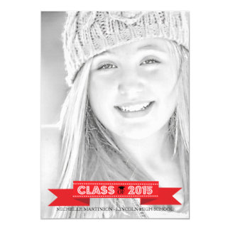 """Class Of 2015 Graduation Photo Announcements (Red) 5"""" X 7"""" Invitation Card"""