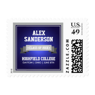 Class of 2015 Graduation Postage Stamp | Blue