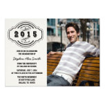 "Class of 2015 gray black photo graduation party 5"" x 7"" invitation card"