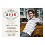 Class of 2015 gray blue red photo graduation party card