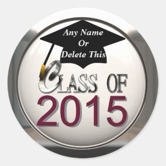 Class Of 2015 Maroon & Silver Graduation Stickers