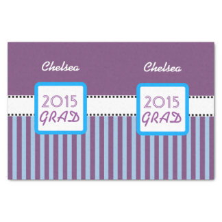 """Class of 2015 or ANY YEAR Custom Purple Stripes  7 10"""" X 15"""" Tissue Paper"""
