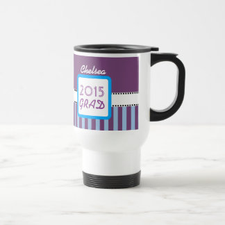 Class of 2015 or ANY YEAR Custom Purple Stripes  7 15 Oz Stainless Steel Travel Mug