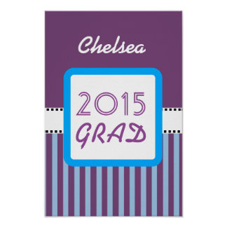 Class of 2015 or ANY YEAR Custom Purple Stripes  7 Poster