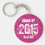 Class of 2015 or Any Year Graduation Pink Zebra Basic Round Button Keychain