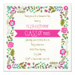 Class of 2015 pink & aqua floral border graduation 5.25x5.25 square paper invitation card
