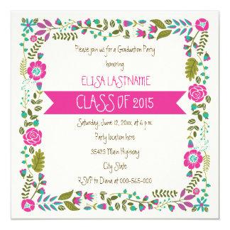 Class of 2015 pink & aqua floral border graduation 5.25x5.25 square paper invitation card