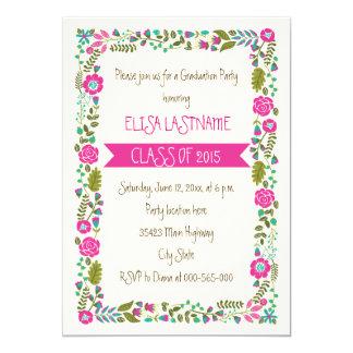 Class of 2015 pink & aqua floral border graduation 5x7 paper invitation card