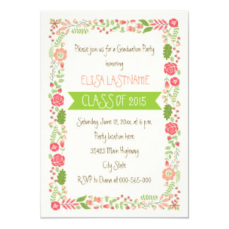 Class of 2015 pink floral border graduation 5x7 paper invitation card