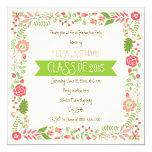 Class of 2015 pink floral border graduation 5.25x5.25 square paper invitation card