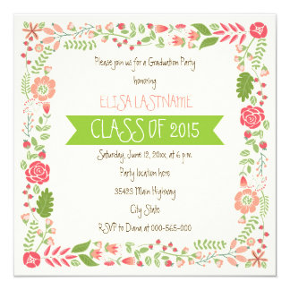 Class of 2015 pink floral border graduation 5.25x5.25 square paper invitation card
