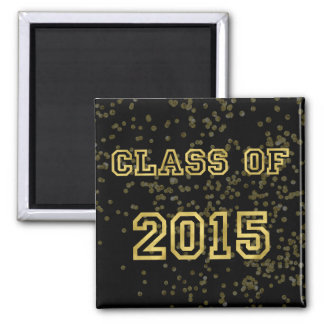 Class of 2015 Sequin Sparkle Background Faux Foil 2 Inch Square Magnet