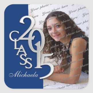Class of 2015 Silver and Blue Graduation Square Sticker
