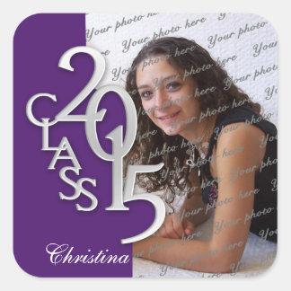 Class of 2015 Silver Purple Graduation Square Sticker