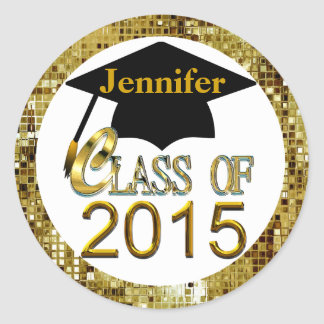 Class Of 2015 Sparkling Gold Graduation Seals Classic Round Sticker