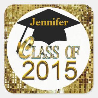 Class Of 2015 Sparkling Gold Graduation Seals Square Sticker