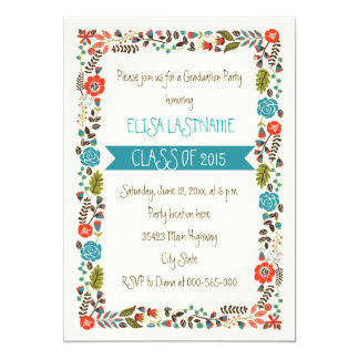 Class of 2015 teal & red floral border graduation 5x7 paper invitation card