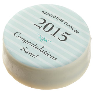 Class of 2015, Teal Stripes Personalized Graduate Chocolate Dipped Oreo