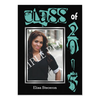 Class of 2015 teal text graduation photo 5x7 paper invitation card