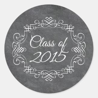 Class of 2015 vintage swirl chalkboard graduation classic round sticker