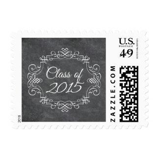 Class of 2015 vintage swirl chalkboard graduation stamps