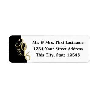Class of 2016 Black and Gold Graduation Return Address Label