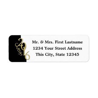 Class of 2016 Black and Gold Graduation Return Address Label