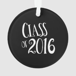 Class of 2016 Black and White Vintage Handwriting Ornament