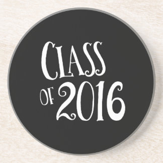 Class of 2016 Black and White Vintage Handwriting Sandstone Coaster