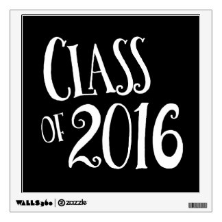 Class of 2016 Black and White Vintage Handwriting Wall Sticker