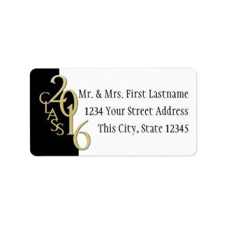 Class of 2016 Black Gold Graduation Label