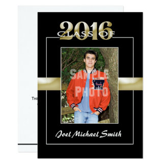 Class of 2016 Black & Gold Graduation Party Card