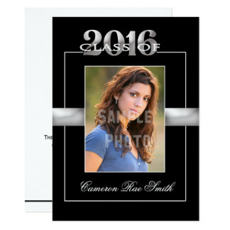 Class of 2016 Black & Silver Graduation Party Card