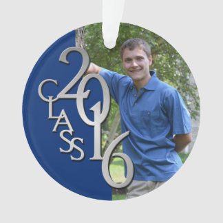Class of 2016 Blue and Silver Graduate Photo Ornament