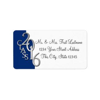 Class of 2016 Blue Silver Graduation Label