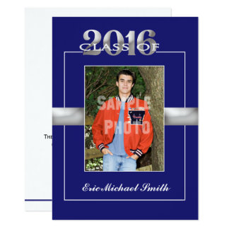 Class of 2016 Blue & Silver Graduation Party Card