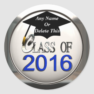 Class Of 2016 Blue & Silver Graduation Stickers