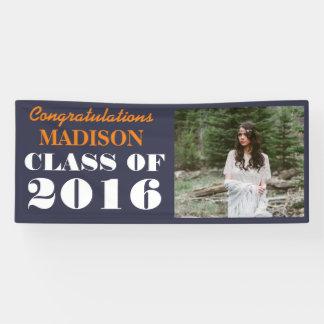 Class Of 2016 Bold Navy Blue Graduate Photo Banner