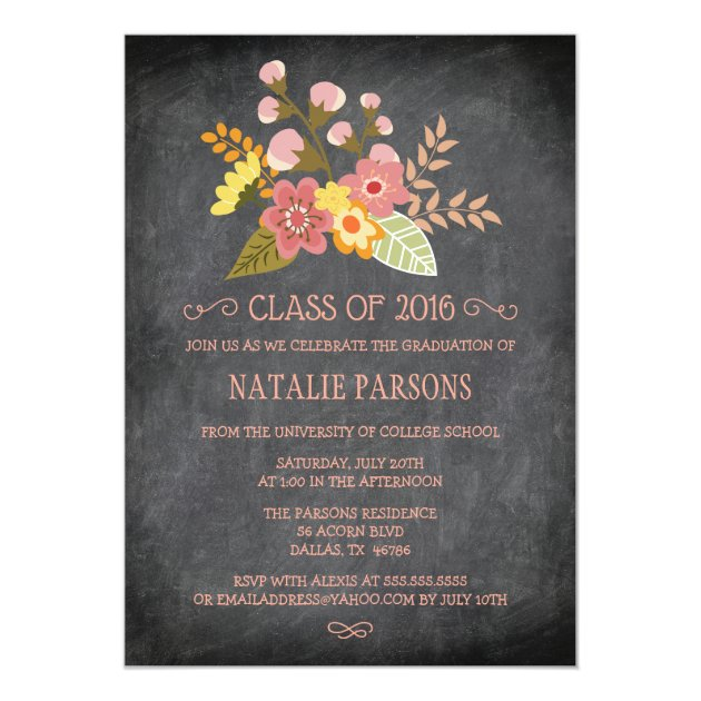 Class of 2016 chalkboard floral graduation party 5x7 paper invitation card