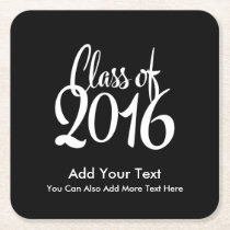 Class of 2016 Elegant Retro Graduation Square Paper Coaster