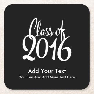 Class of 2016 Elegant Retro Graduation Square Paper Coaster