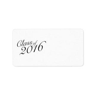 Class of 2016 Elegant Vintage Style Graduation Label