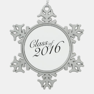 Class of 2016 Elegant Vintage Style Graduation Snowflake Pewter Christmas Ornament