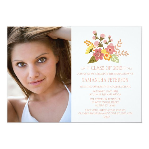 Class of 2016 floral bouquet photo graduation 5x7 paper invitation card