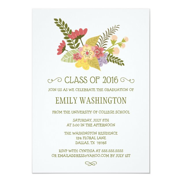 Class of 2016 flowers bouquet graduation party 5x7 paper invitation card (front side)