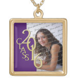 Class of 2016 Grad Photo Purple and Gold Square Pendant Necklace