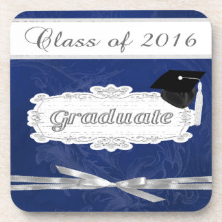Class of 2016, Graduate, Cap On Pretty Banner, Bow Beverage Coaster