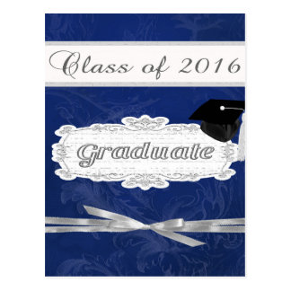 Class of 2016, Graduate, Cap On Pretty Banner, Bow Postcard