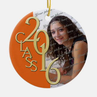 Class of 2016 Graduate Photo Ora ge Double-Sided Ceramic Round Christmas Ornament