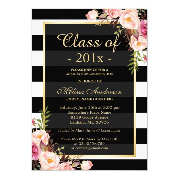 Class of 2016 Graduation Classy Floral Stripes 5x7 Paper Invitation Card